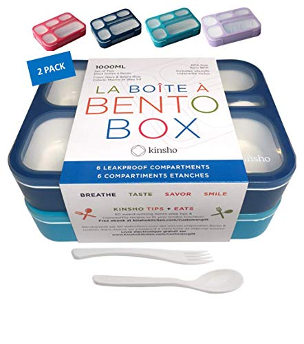 Bento-Box Lunch Boxes for Kids, Boys, Adults. Leakproof Lunch Set, Bentoboxes for School or Work. Portion Containers. BPA Free. 6 Compartments. Fork & Spoon. Blue & Navy Blue Large