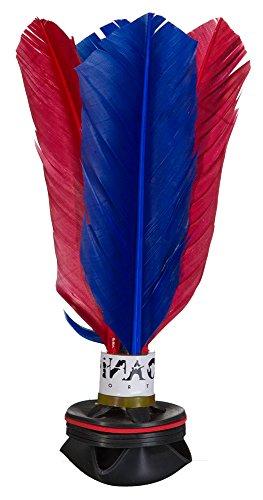 PiNAO Sports - Handfederball Shuttle, [Indiaka, Peteca, Federball, Federn, Gummi] (Blau/Rot)
