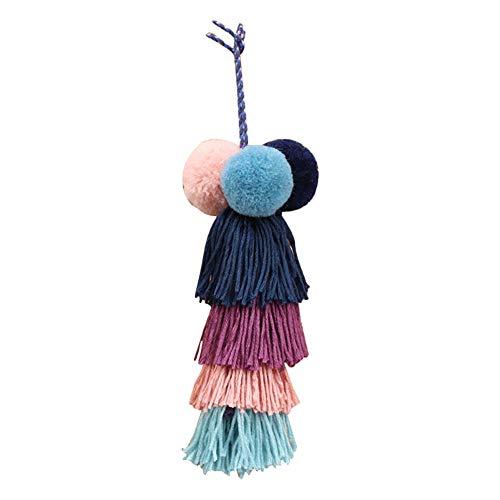 Llavero con borla de pompón de Nowbetter con hilo de pelo, colgante con flecos, accesorio hecho a mano para mujeres y niñas, bolso de mano, bolsa de coche, adorno para decoración, Multicolor 3, 21 cm