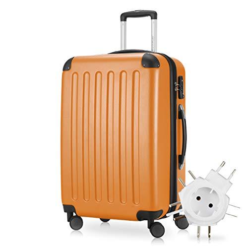 Hauptstadtkoffer - Spree Hartschalen-Koffer Koffer Trolley Rollkoffer Reisekoffer Erweiterbar, 4 Rollen, TSA, 65 cm, 74 Liter, Orange +Universal Reiseadapter