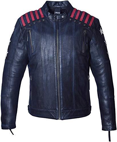 Chaqueta Moto Hombre en Cuero   URBAN 5884 Rising Star   Chaqueta Piel Moto con Protectores CE Extraíbles para Espalda, Hombros Y Codos   Azul Marino, Talla 3XL