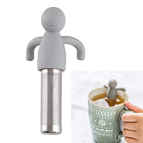 Filtro de té, Colador de té de silicona con asa, Infusores de té con filtro de té extrafino de acero inoxidable para hojas sueltas, adecuado para la mayoría de tazas, silicona apta para alimentos