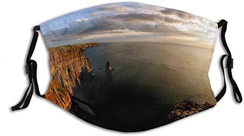Unisex Ireland Cliffs Sea Irish Mountain Sunset Ocean Atlantic Balaclava Reusable Windproof Anti-Dust Mouth Bandanas Outdoor Camping Motorcycle Running with 2 Filters Face mask