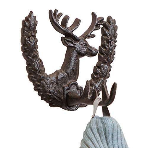 Cast Iron Metal Distressed Stag Head Wall Hooks by Fallen Fruits