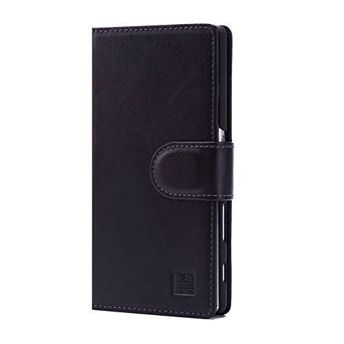 32nd Premium Series - Funda Tipo Libro de Piel Real para Sony Xperia Z5, Flip Carcasa de Cuero Premium diseñada con Cartera, Cierre Magnetico y Soporte Integrado - Negro