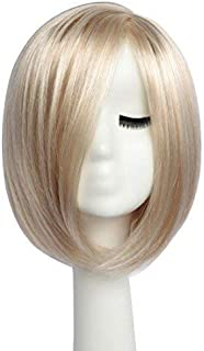 BESTUNG Girl's Sexy Side Part Bob Wig Stylish Short Straight Ombre Blonde Synthetic Wigs Harajuku Style Hair for Women Costume Party with Free Wig Cap