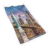 CIKYOWAY Toalla de Mano La Estatua de la Libertad y el Puente de Brooklyn con el del World Trade Center Vista del Atardecer en el crepúsculo históricos de la Nueva York Toalla de baño pequeña 40x70cm