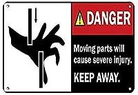 危険な可動部品は重傷を引き起こしますブリキのサインヴィンテージ面白い生き物鉄の絵金属板人格ノベルティ