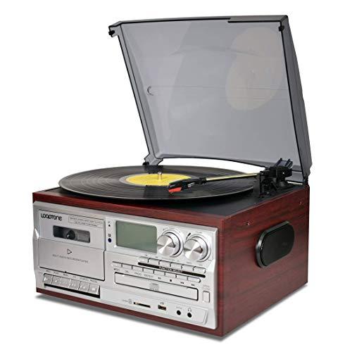 Tocadiscos de vinilo 9 en 1, 3 marchas, Bluetooth, vintage, grabador de casete, radio AM/FM, USB, salida RCA