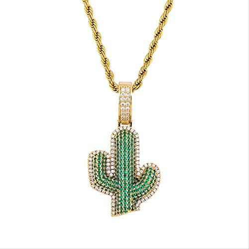 CCXXYANG Co.,ltd Necklace Hip Hop Iced Out Cubic Zircon Cactus Pendant Necklace Fashion Designer Jewelry with 24 Inches Chain Best Gift