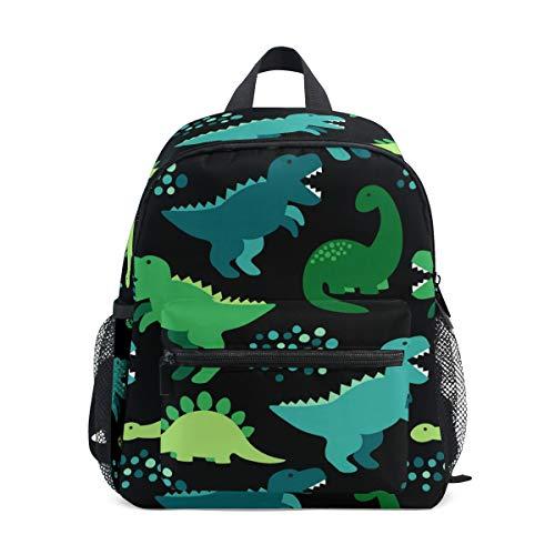 Mochila para niños, diseño de Oso Panda Dibujado a Mano para Estudiantes de niños y niñas, Correa para el Pecho Negro Dinosaurio 087 Talla única