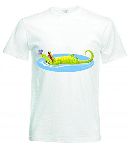 Camiseta con diseño de mariposas y cocodrilo, animales, felices, cocodrilo, crocs, naturales, refrescantes, divertidas, divertidas, divertidas, divertidas para hombre, mujer, niños, 104 – 5 XL Blanco 128