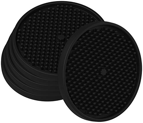 """Silicone Coasters for Drinks Absorbent 4.3"""" Large Drink Coaster Set of 6 Modern Beer Mats Deep Tray Pads Fit All Cups Glasses Bar Table Desk Protection, Cute Box Holder, Best Gift by Thriftiqs (Black)"""