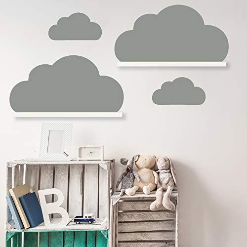 Wolken Set Wandtattoo Passend für Deine IKEA RIBBA/MOSSLANDA Bilderleisten für Babyzimmer Kinderregale (Grau)
