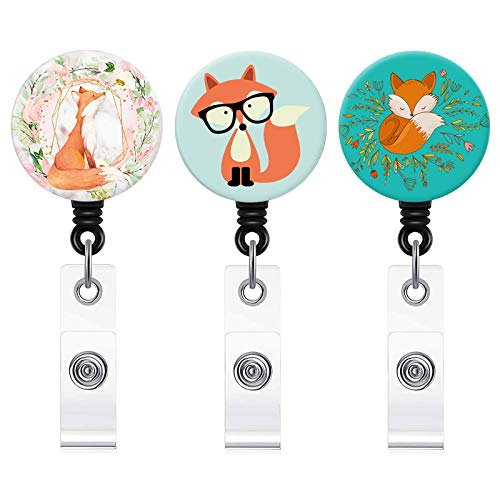 Badge Reel, 3 Pcs Cute Fox Series Retractable ID Card Badge Holder with Alligator Clip, Name Decorative Badge Reel Clip on Card Holders for Cute Girls,Women, Nurse, Teacher, Student, Volunteer