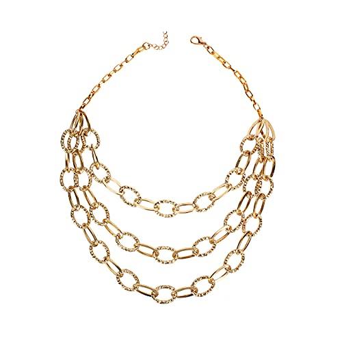 1 Unidades Conjunto De Cuentas En Capas Collares Joyería De Aleación De Bloqueo Colgante Collar Para Mujeres Niñas Regalo De Oro
