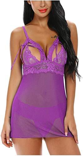 Shengluu Disfraz Colegiala Sexy Cosplay Novia Corta Dormir de la Ropa Interior Atractiva for Las Mujeres traviesa de Malla de Encaje del camisón for la Esposa (Color : Purple, Talla : XXL)