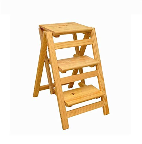 Taburete Escalera de Madera Silla de escalera multifuncional de madera sólida de 3 pasos Silla de escalera de madera plegable Escalera de estantería Taburete de escalera pequeña xc