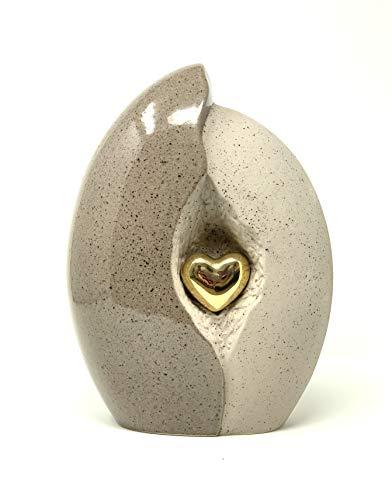 Keramik-Urne für Asche, Herz in Muschel, sandgrau