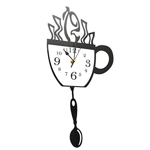JJYM Wandklok Creatieve koffiemok en lepel Moderne keukenwandklok met draaibare lepel koffiemok slinger wandklok koffiedrinker geschenk