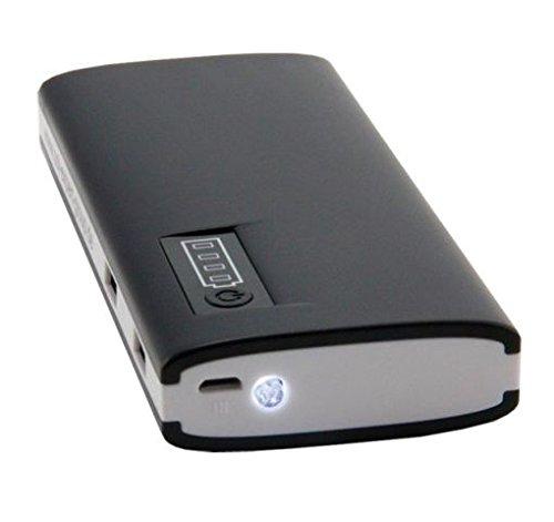 Powerbank MAX mit 13000 mAh, auch für iPad und iPhone, schwarz, 2 x USB Ausgang (1A & 2.1A), mit Ladekabel, Kapazitätsanzeige, mit Taschenlampe