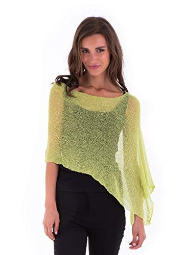 SHU-SHI Womens Sheer Poncho Casual Summer Shrug Bolero Lightweight Knit Lime