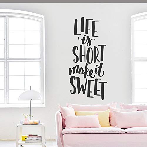 yaonuli Das Leben ist kurz und kurz, um süße Wandaufkleber Familienwandtattoos für Familienschlafzimmer Wohnzimmer Liebeswort Wandbild 111X50cm zu Machen