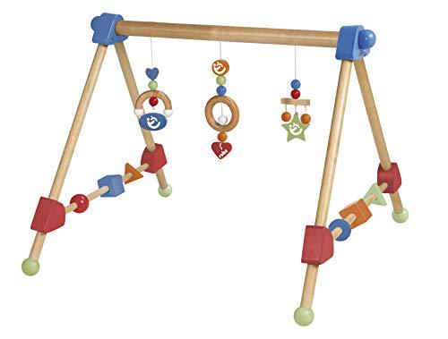 roba Spieltrapez, Aktivcenter mit höhenverstellbaren Spiel-und Greiftrainer, und Babyspielzeug aus Holz, mehrfarbig, H x B x T: 42 x 61 x 59 cm