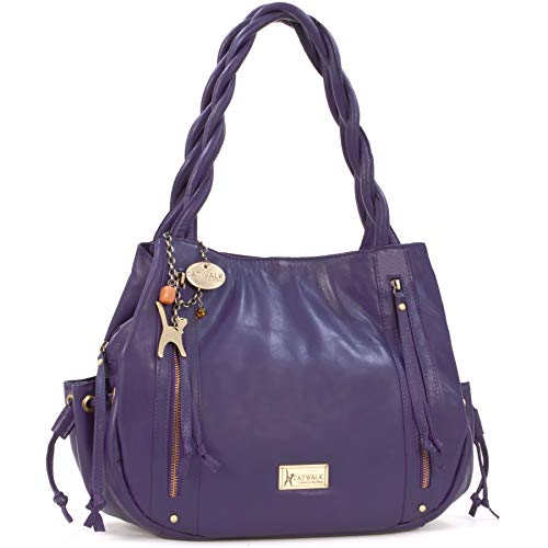 Catwalk Collection Handbags - Leder - Umhängetasche/Shopper/Tote - CAZ - Violett