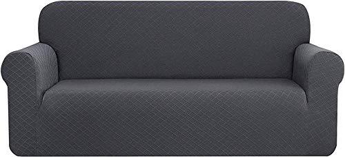 WLVG Funda de sofá de rombo Jacquard de poliéster y elastano para sillón, protector de muebles, elástico universal elástico suave para sofá (gris, 4 plazas/sofá)