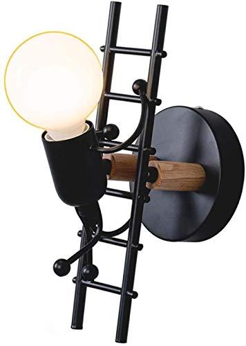 Lámpara De Pared Creativa Lámpara De Pared Interior Lámpara De Pared Moderna Lámpara Art Deco De Hierro Para Dormitorio, Habitación Infantil, Pasillo, Restaurante, Escalera E27-Negro