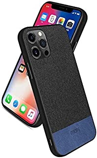 Mofi Case For iPhone 12 (Pro Max - Pro - 12 - Mini) Black Fabric Blue Leather - Non Slip - Anti shock protection - Lightwe...