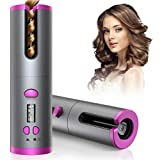 Cordless Auto Curler, Automatic Curling Iron, Rechargeable Auto Hair Curler with 6 Temperature