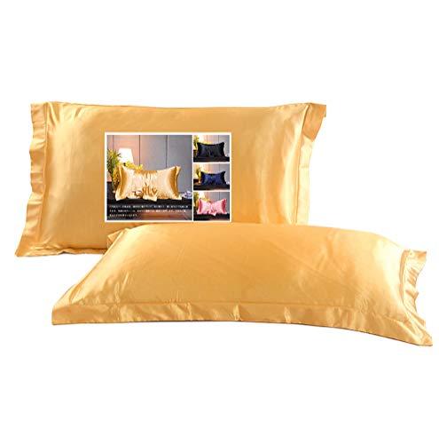シルク枕カバー,ピロケース43×63CM,サテン封筒式2枚,イエロー(枕は含まれていません)