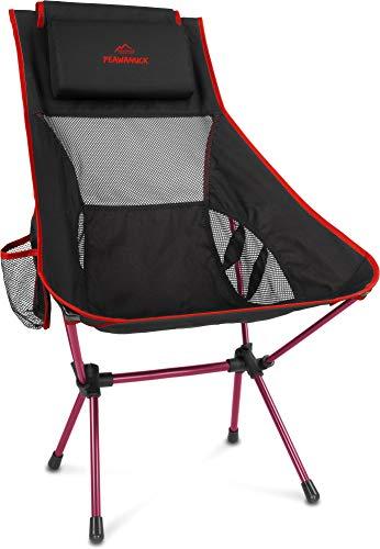 normani Outdoor Sports Ultraleicht Tragbar Klappbar Campingstuhl Klappstuhl Faltbar Outdoor-Stuhl mit Tragetasche Angelstuhl Strandstuhl aus Aluminium bis 150 kg belastbar Farbe Rot
