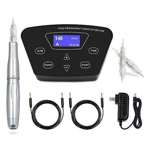 BIOAMSER P300 Permanent Makeup Tattoo Machines Device Kit Include Digital Permanent Makeup Power Supply Permanent Makeup Tattoo LW002 silver Pen and Clip Cord with 10pcs 1R Microbladi