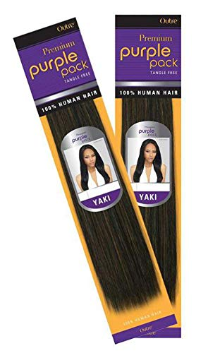 Outre Purple Pack 100% Human Hair Weave (10 inches, 1B(Off Black))