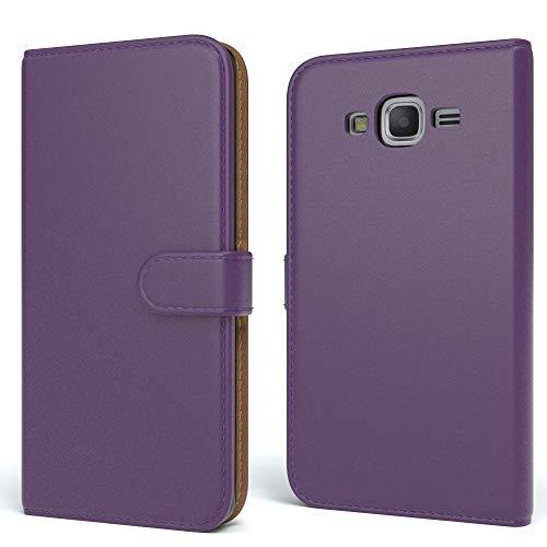 EAZY CASE Tasche für Samsung Galaxy Grand Prime Schutzhülle mit Standfunktion Klapphülle im Bookstyle, Handytasche Handyhülle Flip Cover mit Magnetverschluss & Kartenfach, Kunstleder, Lila