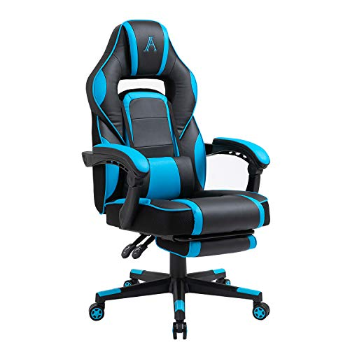 AJS PC Gaming Chair Computer Ergonomic Video Game Chair Adjustable Swivel Recliner High Back PU Leather Desk Chair Lumbar Support with Footrest for Adults and Teens (Blue)