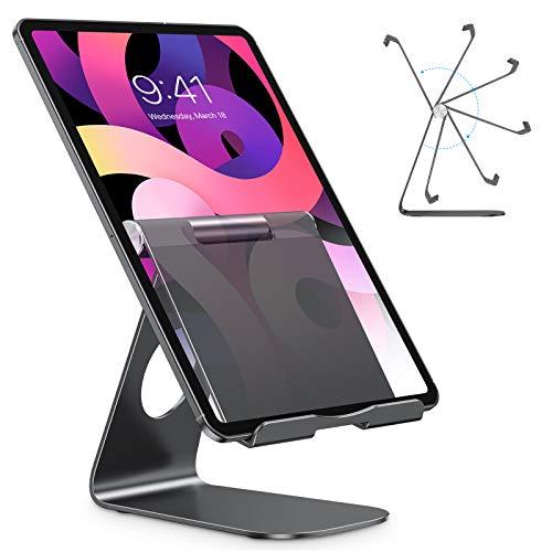 OMOTON Tablet Stand Holder Adjustable, Desktop Aluminum Tablet Dock Stand for iPad Air 4/ Mini 5, New iPad 10.2/9.7, iPad Pro 11/12.9, Samsung Tablet, Nintendo, E-Reader and More, Black