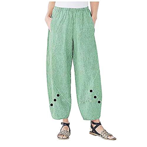 VCAOKF Pantalones divertidos para mujer, sueltos, estampados, de algodón, sueltos, para el hogar, para el tiempo libre, con pequeño bordado para la playa, yoga y entrenamiento verde XL