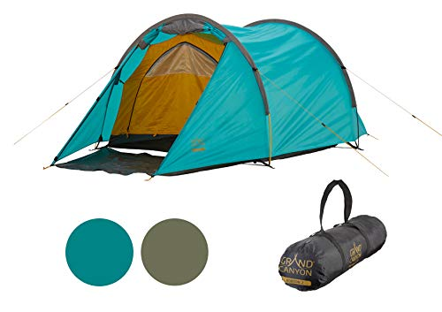 Grand Canyon Robson 2 - Tunnelzelt für 2 Personen | Ultra-leicht, wasserdicht, kleines Packmaß | Zelt für Trekking, Camping, Outdoor | Blue Grass (Blau)