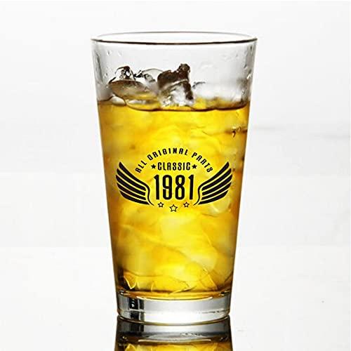 All Original Parts Classic 1981 - Copas de cerveza personalizadas, vaso de cerveza de pinta de 16 onzas ideas para el día de la independencia, papá, mamá, marido, esposa, padrino presente.