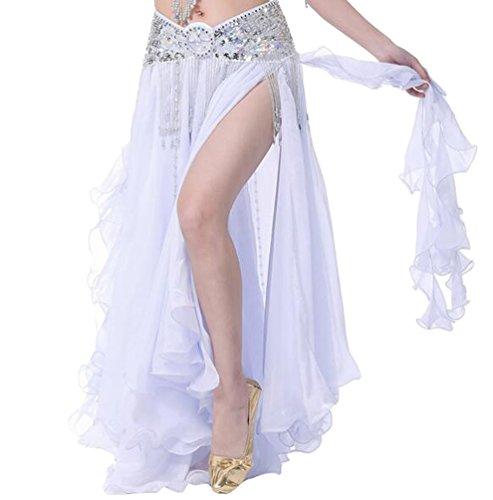 YuanDian Donne Tinta Unita Danza del Ventre Vestito Costume High Aprire Doppia Fessura Gonna Professionali Abbigliamento Danza Moderna Bianco (Non Include Cintura)