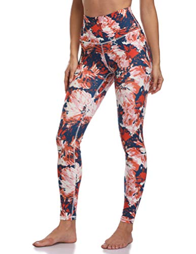 Colorfulkoala Women's High Waisted Pattern Leggings Full-Length Yoga Pants (S, Abstract Blossoms)