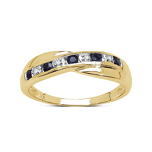 The Sapphire Ring Collection: 9ct Gold 0.25ct Sapphire & Diamond Channel Set Crossover Eternity Ring (Size W) …