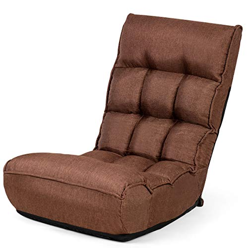 Giantex Floor Chair Sleeper 4-Position Adjustable Angle Folding Lazy Sofa Cushioned Couch Lounger Easy for Storage, Brown