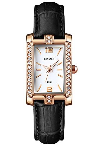 Reloj Mujer Elegante Minimalista Relojes de Pulsera Analógico de Cuarzo Resistente al Agua Relojes Cuadrado para Mujer - Negro Cuero
