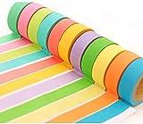 Weiqiao 10 rollos Washi Tape Set Decorativo Multicolor Masking Tape Collection Scrapbooking Tape Decoración Creativa para DIY Arte Regalo