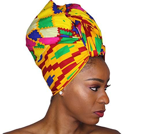 Ankara Headwrap Long Hair Head Wrap Turban and Scarf Dashiki African Print Kente and Stretch Jersey (Purple Yellow Green and Blue)